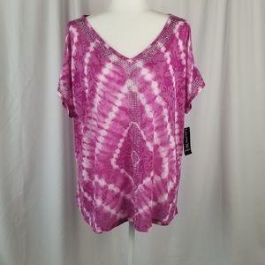 INC tie dye diamond blouse pink & white size 1X